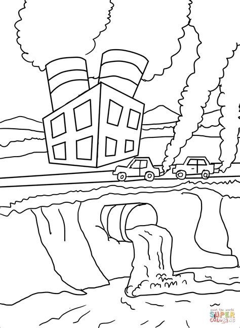 air  water pollution coloring page  printable