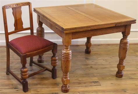 antique oak pub table and 4 chairs dining set for