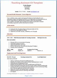 Teaching assistant cv template sample resume for daycare for Curriculum vitae template for teachers