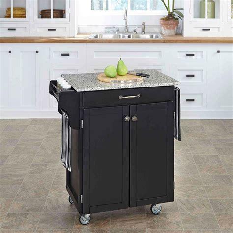 home styles cuisine cart black kitchen cart  granite