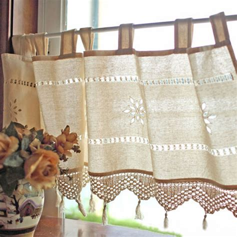country style cotton linen embroidery cafe curtain