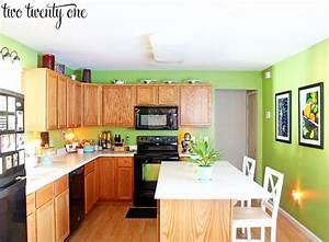 our kitchen before With kitchen colors with white cabinets with mac stickers apple