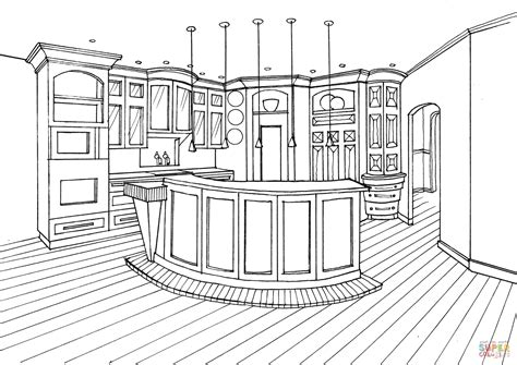 kitchen  bar counter coloring page  printable