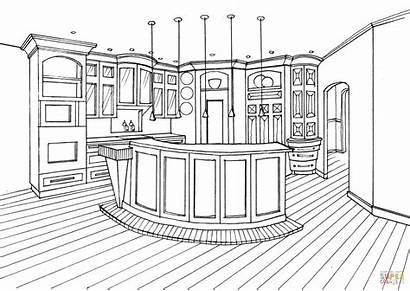 Coloring Kitchen Bar Counter Colorear Dibujos Disegno