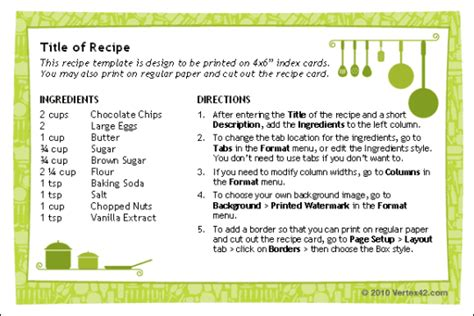 Page Recipe Template For Word by Recipe Cards For Word Free And Software Reviews