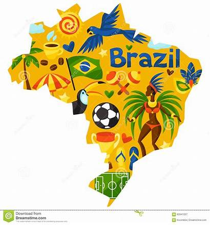 Brazil Cultural Map Objects Symbols Stylized Illustration