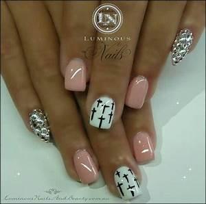 Nail art with diamond stiletto accent nails $ cross ...