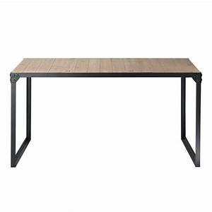 table de salle a manger indus en bois et metal l 140 cm With salle a manger bois et metal