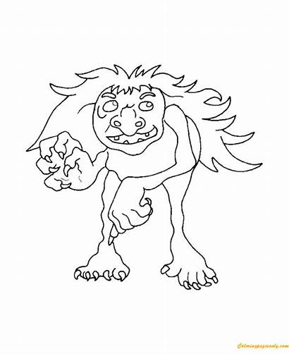 Mythical Coloring Creatures Troll Pages Animals Trolls