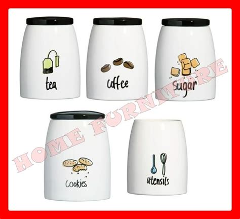 modern kitchen canister sets modern kitchen canister set pc tea coffee sugar cookies canister jars set doodle ebay