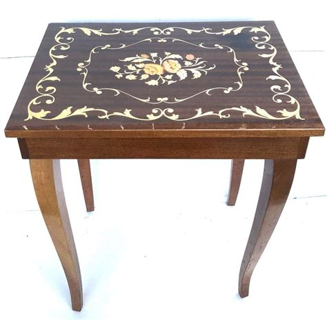 """Music box attic the leading online retailer for musical gifts since 1999. VINTAGE MUSIC BOX TABLE-INLAID WOOD-ITALY-MAPSA SWISS MOVEMENT-""""EDELWEISS"""" 