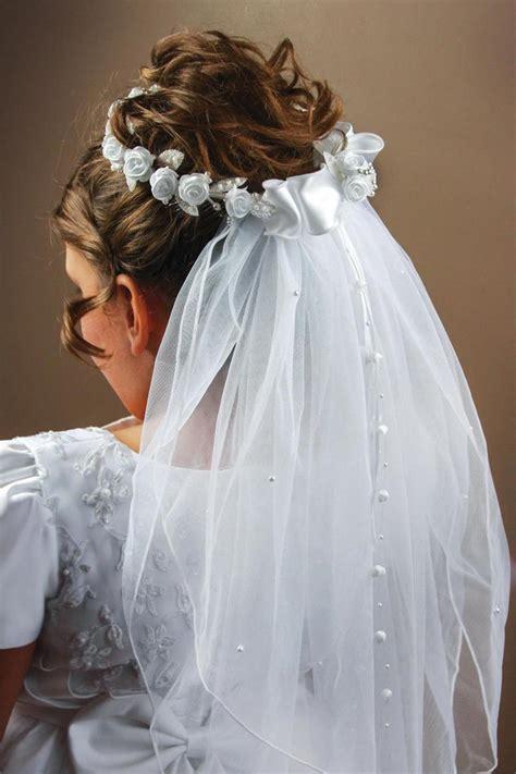 communion beaded rose veil