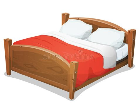 Wood Double Bed With Red Blanket Stock Vector