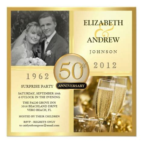 50th Golden Anniversary Surprise Party Invitations Photo