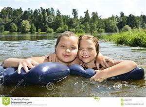 Two Girls Girlfriends On Summer Lake Swimming In The Lake ...