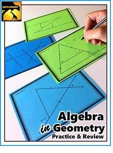 Algebra In Geometry Task Cards  Solving To Find Missing