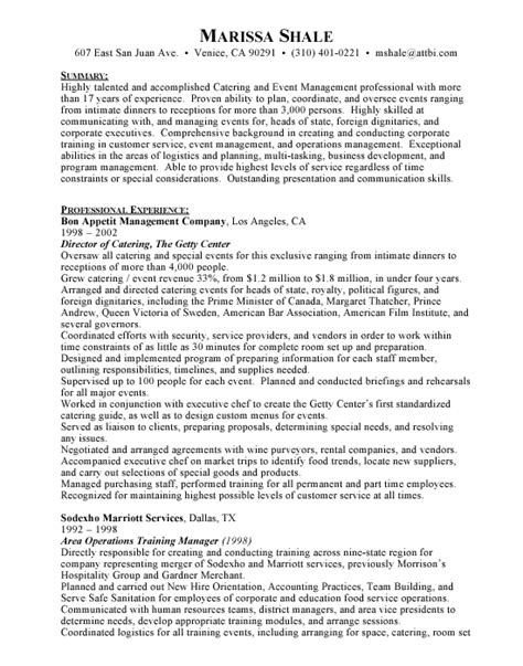 Caterer Resume by Catering Director Hospitality Free Resumes