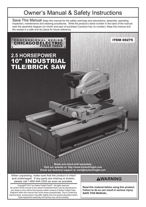 chicago electric 10 quot industrial tile brick saw 69275 user