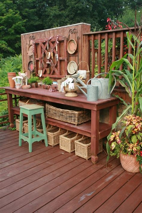 pretty potting tables  spring sprucing  home