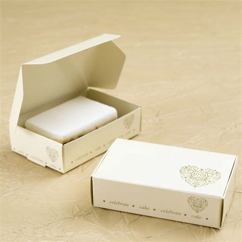 cake slice boxes wedding party favours ivory gold heart