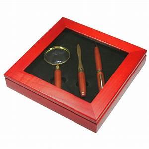 Rosewood ballpoint letter opener and magnifying glass for Letter opener gift set