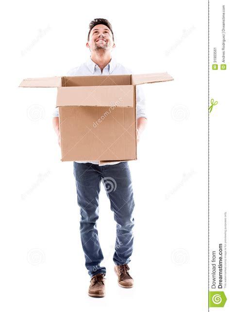 happy man holding  box stock image image  hispanic