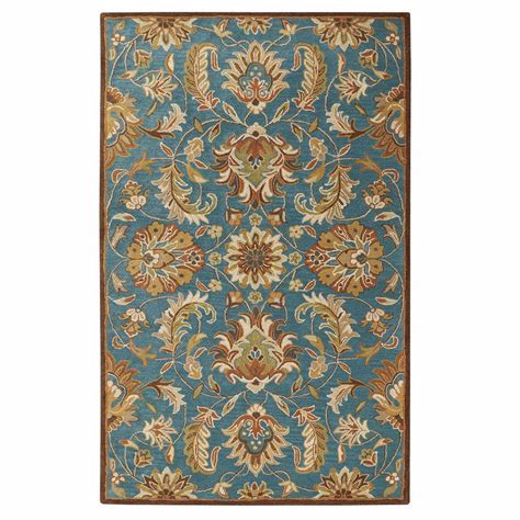 rugs home depot home decorators collection vogue teal blue 7 ft 6 in x 9