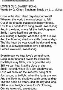 Old Time Song Lyrics for 61 Loves Old Sweet Song