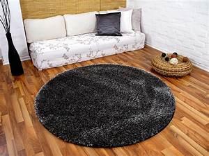 Teppich Rund 120 Cm Durchmesser : hochflor shaggy teppich luxus feeling mix anthrazit rund in 7 gr en teppiche hochflor langflor ~ Bigdaddyawards.com Haus und Dekorationen