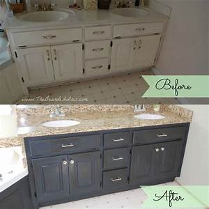 before and after of bathroom vanity makeover by the With annie sloan chalk paint bathroom vanity