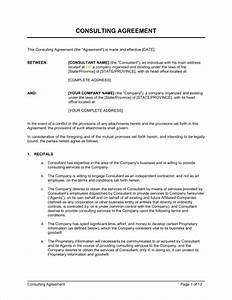 25 consulting agreement samples samples and templates for Sample contract letter for consultant