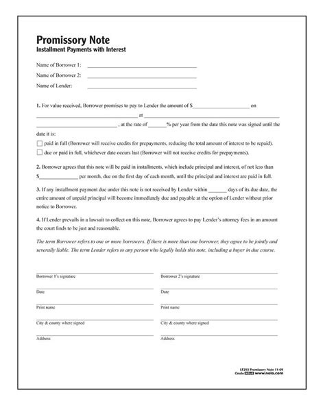 iou contract form adams promissory note forms and instructions
