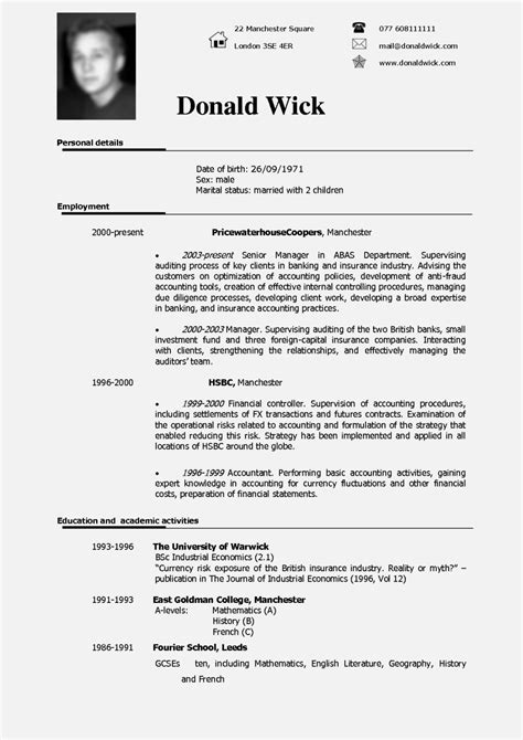 standard resume format uk cv cover letter exle uk resume template cover letter