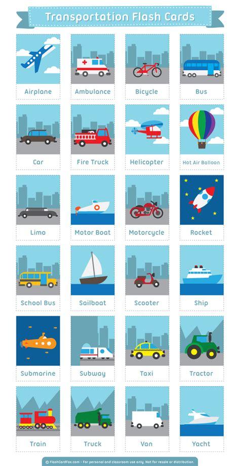Free Printable Transportation Flash Cards Download Them In Pdf Format At Httpflashcardfox