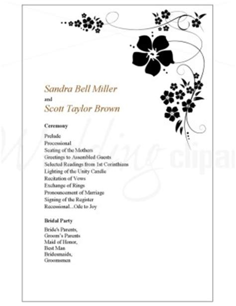 one page wedding program printable sweet pea wedding program template