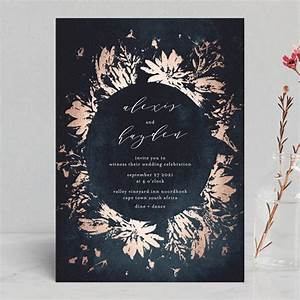 Pressed flowers foil pressed wedding invitations by for Minted navy wedding invitations