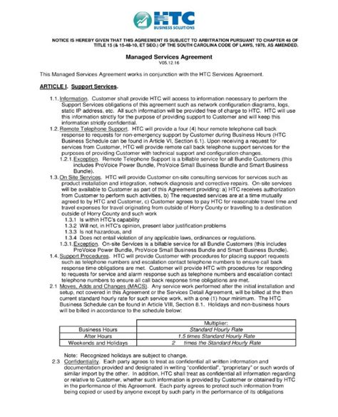 managed services agreement contract templates word