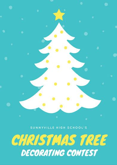 blue  white christmas tree contest flyer templates