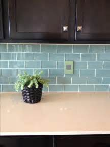 blue green glass subway tile backsplash kitchen pinterest
