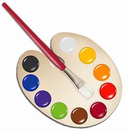 Palette Paint Clipart Clip Artist Brush Brushes