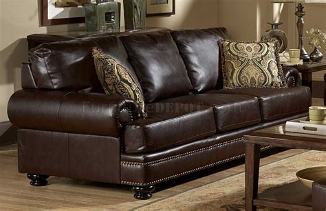 Loveseat And Ottoman by 9854 Bentleys Sofa Set In Rich Brown Leather By Homelegance