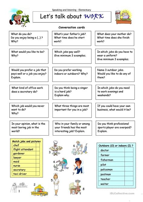 Let´s Talk About Work Worksheet  Free Esl Printable Worksheets Made By Teachers