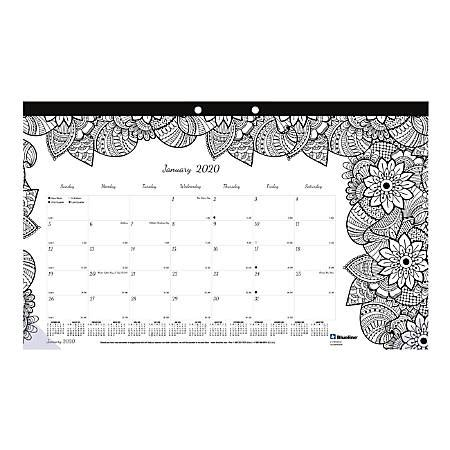 blueline doodle monthly desk pad calendar january