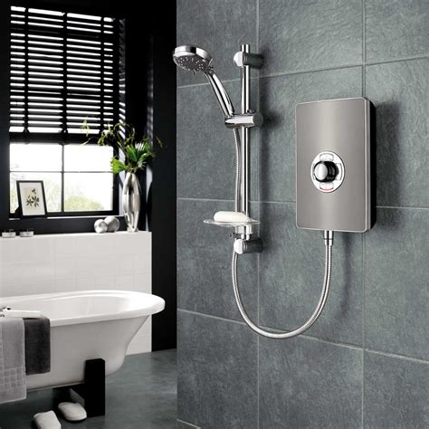 At Shower by Electric Shower Aspirante Shower Gun Metal