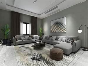 Modern, Living, Room, 1, 3d, Model