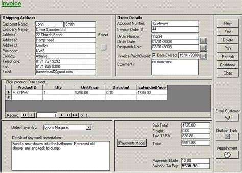 free access database templates access invoice template free invoice exle
