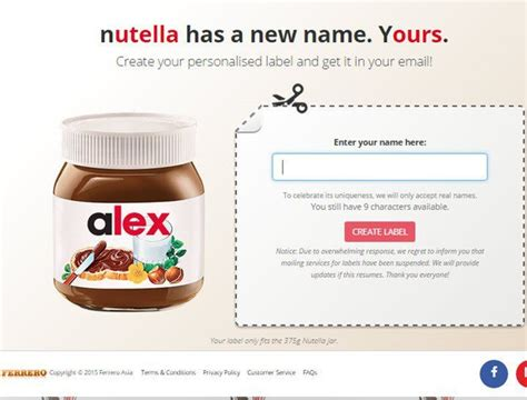 Labels for nutella jars design. Finally. You can customise your Nutella jar with your name.   Nutella jar, Nutella, Personalised ...