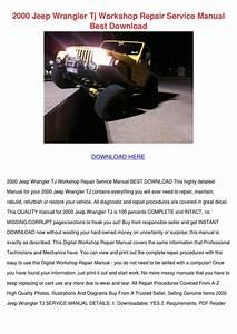 2000 Jeep Wrangler Tj Workshop Repair Service By