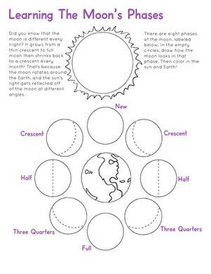 moon phases worksheet worksheet education