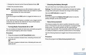 Turning Radio Tones  Alerts On Or Off  Checking The Battery